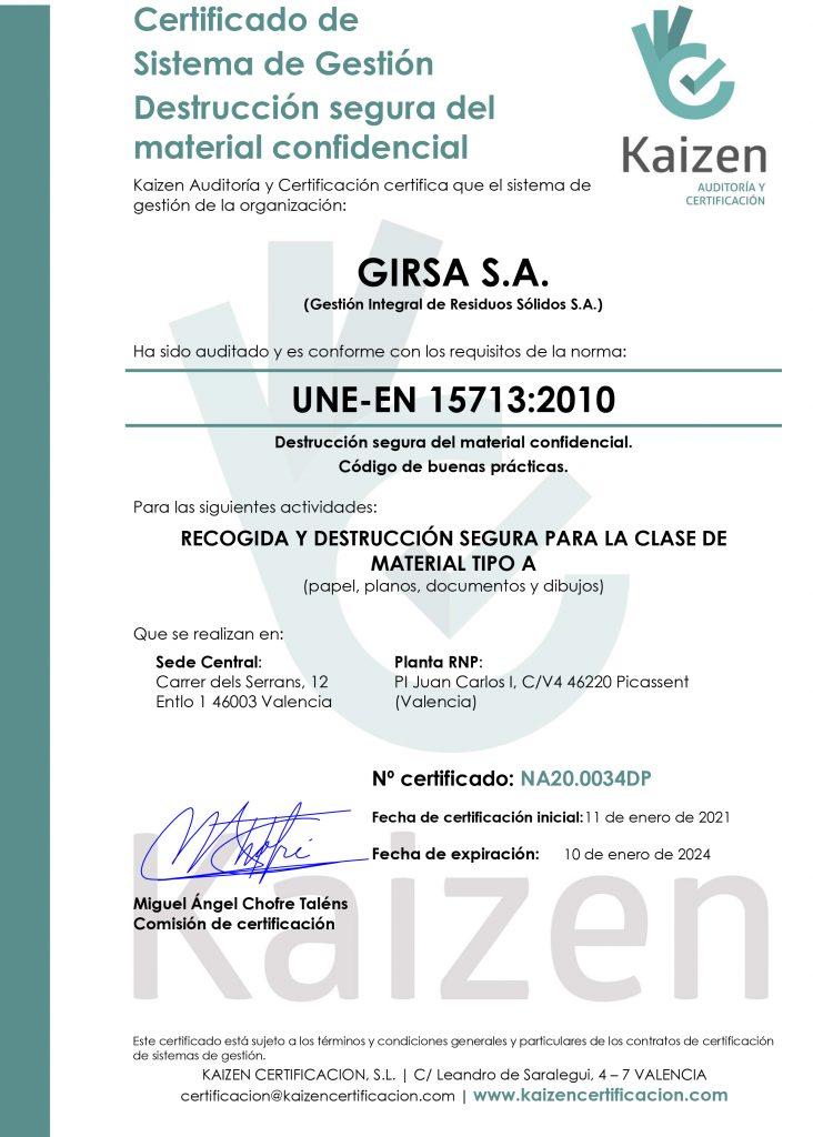 destrucción certificada de documentos de GIRSA