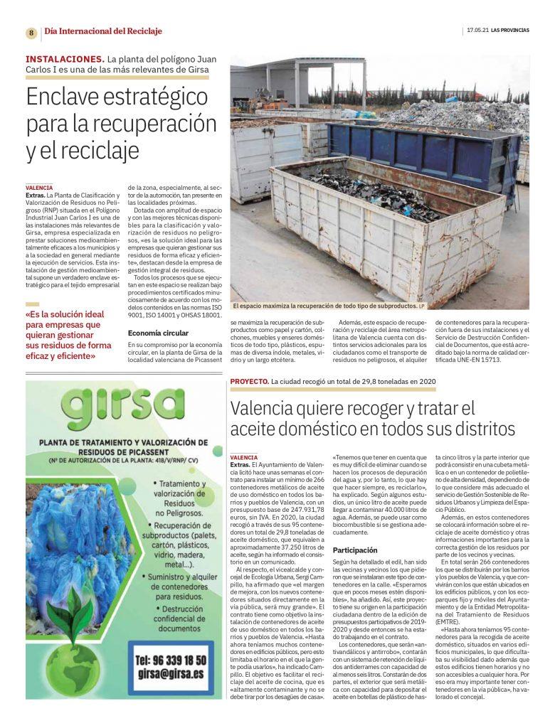 Noticia Las Provincias Dia del reciclaje